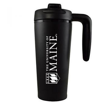 University of Maine-16 oz. Travel Mug Tumbler with Handle-Black