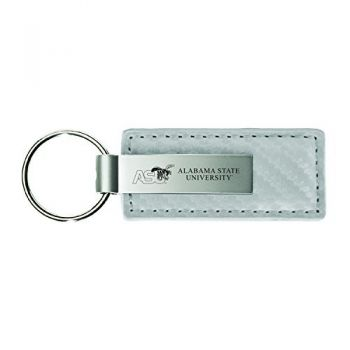 Alabama State University-Carbon Fiber Leather and Metal Key Tag-White