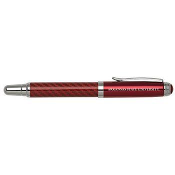Arkansas State University - Carbon Fiber Rollerball Pen - Red