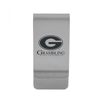 Grambling State University|Money Clip with Contemporary Metals Finish|Solid Brass|High Tension Clip to Securely Hold Cash, Cards and ID's|Gold