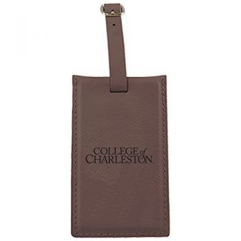 College of Charleston-Leatherette Luggage Tag-Brown