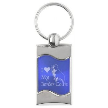Keychain Fob with Wave Shaped Inlay  - I Love My Border Collie