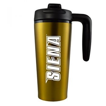 Siena College-16 oz. Travel Mug Tumbler with Handle-Gold
