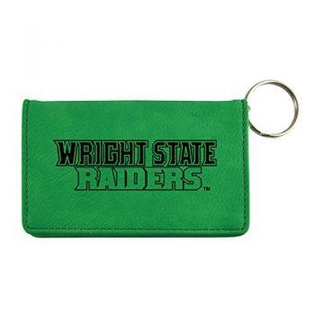 Velour ID Holder-Wright State university-Green