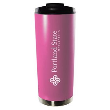 Portland State University-16oz. Stainless Steel Vacuum Insulated Travel Mug Tumbler-Pink