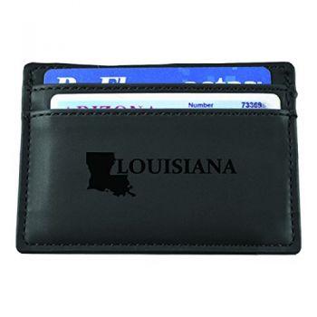 Louisiana-State Outline-European Money Clip Wallet-Black