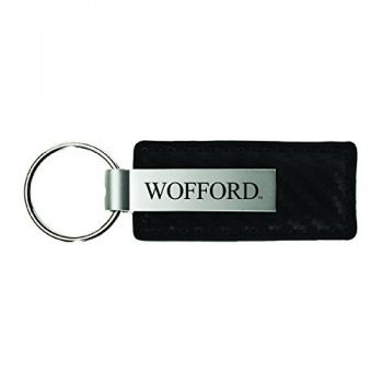 Wofford College-Carbon Fiber Leather and Metal Key Tag-Black