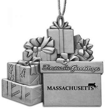 Massachusetts-State Outline-Pewter Gift Package Ornament-Silver