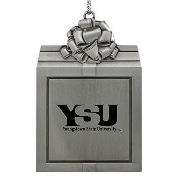 Youngstown State University -Pewter Christmas Holiday Present Ornament-Silver