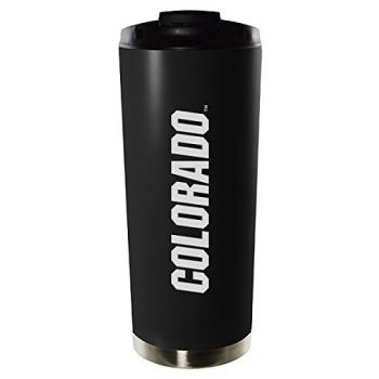 University of Colorado Boulder-16oz. Stainless Steel Vacuum Insulated Travel Mug Tumbler-Black