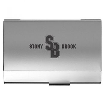 Stony Brook University - Two-Tone Business Card Holder - Silver