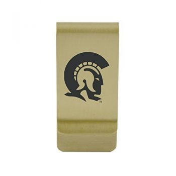 Appalachian State University |Money Clip with Contemporary Metals Finish|Solid Brass|High Tension Clip to Securely Hold Cash, Cards and ID's|Silver