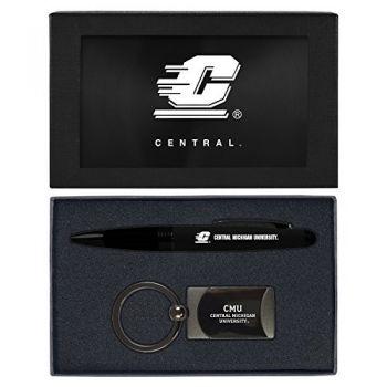 Central Michigan University -Executive Twist Action Ballpoint Pen Stylus and Gunmetal Key Tag Gift Set-Black