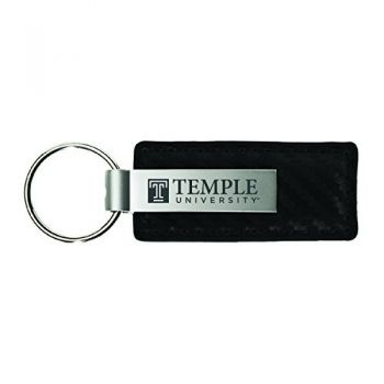 Temple University-Carbon Fiber Leather and Metal Key Tag-Black