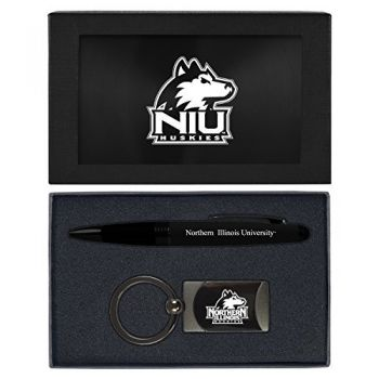 Northern Illinois University -Executive Twist Action Ballpoint Pen Stylus and Gunmetal Key Tag Gift Set-Black