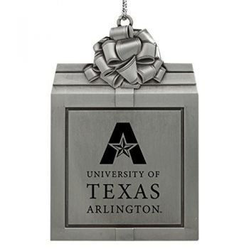 University of Texas at Arlington -Pewter Christmas Holiday Present Ornament-Silver