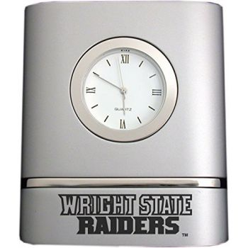 Wright State University- Two-Toned Desk Clock -Silver