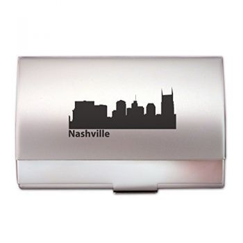 Nashville, Tennessee-Two-Tone Business Card Holder-Silver