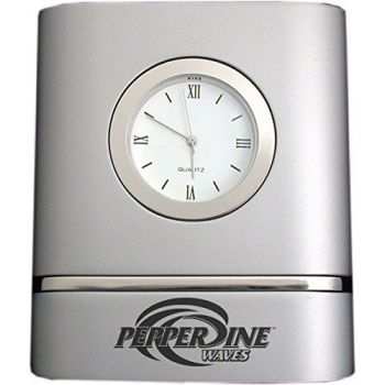 Pepperdine University- Two-Toned Desk Clock -Silver