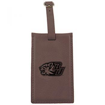 Binghamton University-Leatherette Luggage Tag-Brown