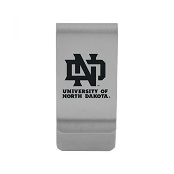 University of North Dakota|Money Clip with Contemporary Metals Finish|Solid Brass|High Tension Clip to Securely Hold Cash, Cards and ID's|Gold