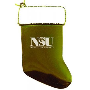Norfolk State University - Chirstmas Holiday Stocking Ornament - Gold