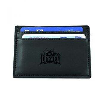 Drexel University-European Money Clip Wallet-Black