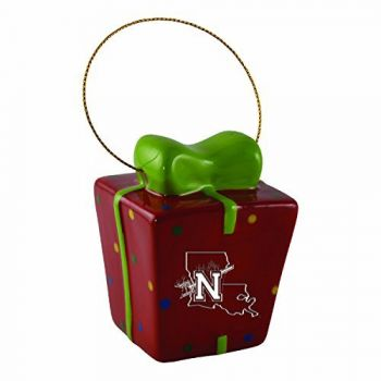 Northwestern State University-3D Ceramic Gift Box Ornament