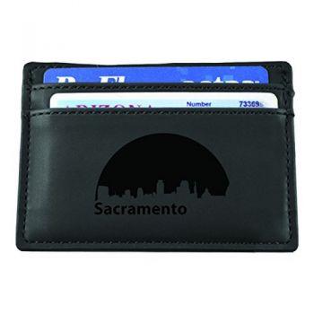 Slim Wallet with Money Clip - Sacramento City Skyline