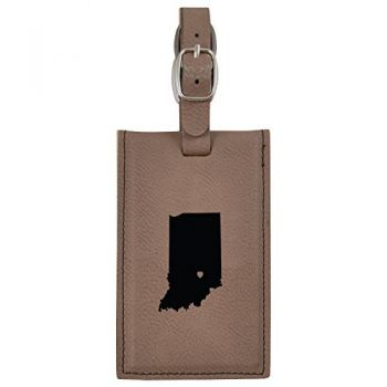 Indiana-State Outline-Heart-Leatherette Luggage Tag -Brown