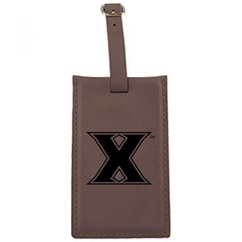 Xavier University-Leatherette Luggage Tag-Brown