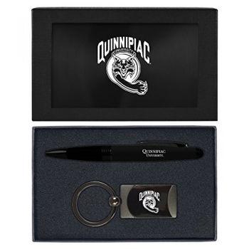 Quinnipiac University -Executive Twist Action Ballpoint Pen Stylus and Gunmetal Key Tag Gift Set-Black