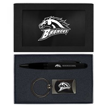 Western Michigan University-Executive Twist Action Ballpoint Pen Stylus and Gunmetal Key Tag Gift Set-Black