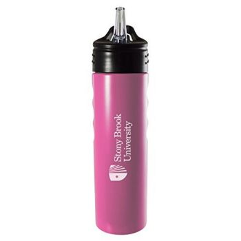 Stony Brook University-24oz. Stainless Steel Grip Water Bottle with Straw-Pink