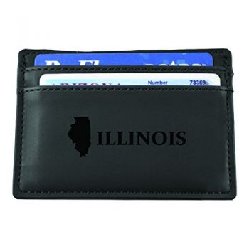 Illinois-State Outline-European Money Clip Wallet-Black