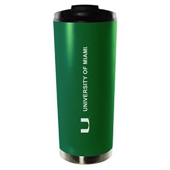 University of Miami-16oz. Stainless Steel Vacuum Insulated Travel Mug Tumbler-Green