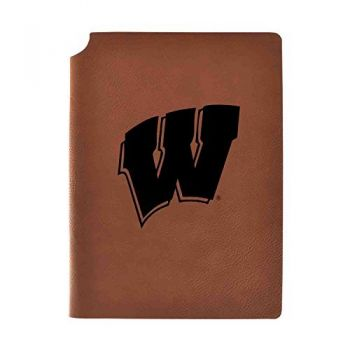 University of Wisconsin Velour Journal with Pen Holder|Carbon Etched|Officially Licensed Collegiate Journal|