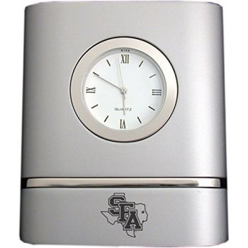 Stephen F. Austin State University- Two-Toned Desk Clock -Silver