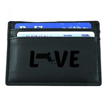 Massachusetts-State Outline-Love-European Money Clip Wallet-Black