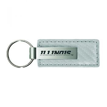 University of Illinois-Carbon Fiber Leather and Metal Key Tag-White