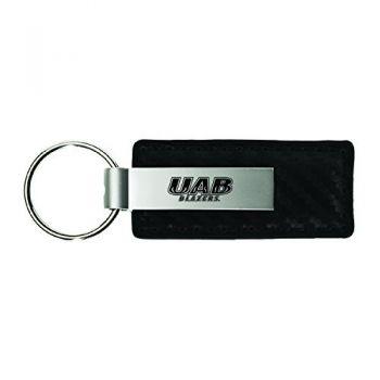 University of Alabama at Birmingham-Carbon Fiber Leather and Metal Key Tag-Black