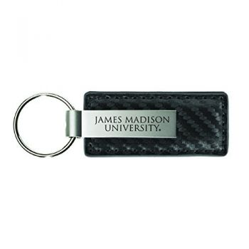 James Madison University-Carbon Fiber Leather and Metal Key Tag-Grey