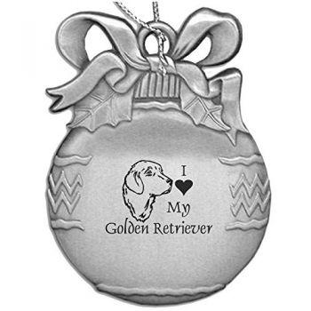 Pewter Christmas Bulb Ornament  - I Love My Golden Retriever