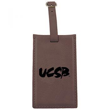 University of California, Santa Barbara-Leatherette Luggage Tag-Brown