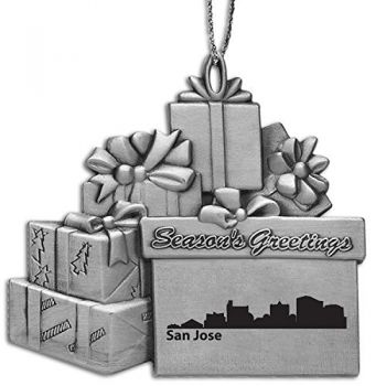 Pewter Gift Display Christmas Tree Ornament - San Jose City Skyline