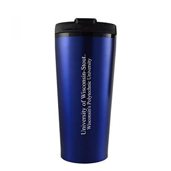 University of Wisconsin-Stout-16 oz. Travel Mug Tumbler-Blue
