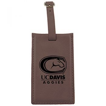 University of California, Davis -Leatherette Luggage Tag-Brown