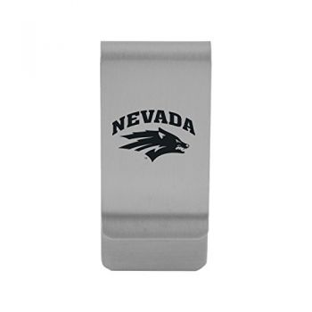 University of Nevada|Money Clip with Contemporary Metals Finish|Solid Brass|High Tension Clip to Securely Hold Cash, Cards and ID's|Gold