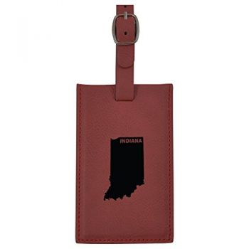 Indiana-State Outline-Leatherette Luggage Tag -Burgundy
