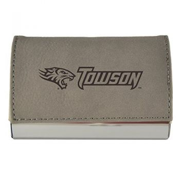 Velour Business Cardholder-Towson University-Grey